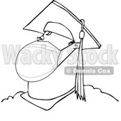 Cartoon Black and White Rona Graduate Wearing a Mask © djart #1717673