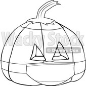 Covid Halloween Jackolantern Pumpkin Wearing a Mask Black and White © djart #1717766