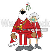 Cartoon Covid Santa and Mrs Claus Wearing Masks Under Mistletoe © djart #1718697