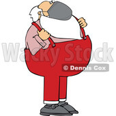 Cartoon Covid Santa Wearing a Mask and Grasping His Suspenders © djart #1718698
