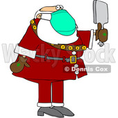 Cartoon Coronavirus Santa Checking Himself out in a Hand Mirror © djart #1718702