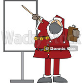 Cartoon Sauta Wearing a Mask and Pointing to a Board © djart #1719049