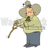 Caucasian Cowboy With A Feather In His Hat, Looking Back Over His Shoulder While Handling A Stick While Water Witching Or Dowsing Clipart Illustration Image © Dennis Cox #17191