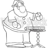 Cartoon Black and White Corona Virus Santa with a Christmas Snack © djart #1719187