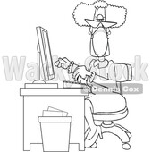 Cartoon Black and White Senior Female Secretary Wearing a Mask at Her Desk © djart #1719188