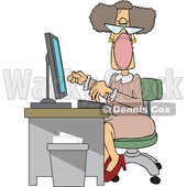 Cartoon Senior White Female Secretary Wearing a Mask at Her Desk © djart #1719191