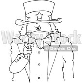 Black and White Uncle Sam Pointing at the Viewer and Wearing a Mask © djart #1719296