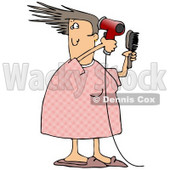 Caucasian Woman Her Pjs Holding A Hairbrush And Using A Red Blow Dryer To Dry And Style Her Hair While Getting Ready For Work In The Morning Clipart Illustration Image © djart #17193