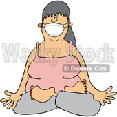 Cartoon Woman Doing Yoga and Wearing a Face Mask © djart #1719300