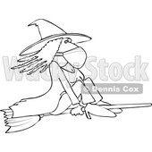 Cartoon Black and White Halloween Witch Flying and Wearing a Mask © djart #1719302