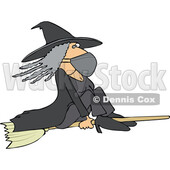 Cartoon Halloween Witch Flying and Wearing a Mask © djart #1719305
