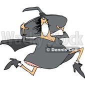 Cartoon Halloween Witch Wearing a Mask and Running © djart #1719306