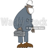 Cartoon Worker Wearing a Mask and Carrying a Lunch Pail © djart #1719307