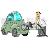 Nervous Caucasian Businessman Trying To Figure Out How To Plug In His New Electric Car To A Socket Clipart Illustration Image © Dennis Cox #17194