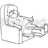 Cartoon Black and White Sick Woman Wearing a Mask and Resting in a Recliner Chair © djart #1719470