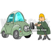 Blond Caucasian Woman In A Green Dress, Plugging In Her New Green Electric Car To A Socket So It Can Charge Clipart Illustration Image © Dennis Cox #17195
