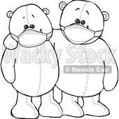 Cartoon Black and White Teddy Bears Wearing Masks and Embracing © djart #1719503