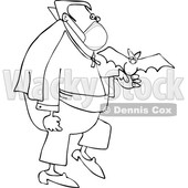 Cartoon Black and White Coronavirus Vampire with a Bat and Mask © djart #1719507