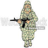 Cartoon Army Soldier Wearing a Mask and Walking with a Rifle © djart #1719509