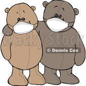 Cartoon Teddy Bears Wearing Masks and Embracing © djart #1719514