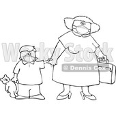 Cartoon Black and White Traveling Mother and Son Wearing Covid Face Masks © djart #1719520