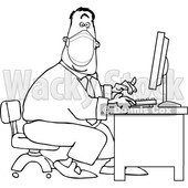 Cartoon Black and White Businessman Wearing a Covid Mask and Typing at a Desk © djart #1719522