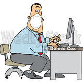 Cartoon Businessman Wearing a Covid Mask and Typing at a Desk © djart #1719526