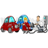 Caucasian Couple, a Man and a Woman, in Their Garage, Plugging in their Electric Cars to Sockets to Charge Clipart Illustration Image © djart #17196