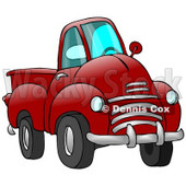 Big Red Pickup Truck Clipart Illustration © Dennis Cox #17198
