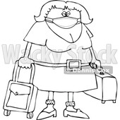 Cartoon Female Traveler Wearing a Mask Lineart © djart #1719883