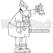 Cartoon German Man Celebrating Oktoberfest with a Beer Stein and Wearing a Mask Lineart © djart #1719885