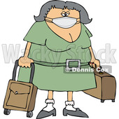 Cartoon Female Traveler Wearing a Mask © djart #1719887