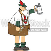 Cartoon German Man Celebrating Oktoberfest with a Beer Stein and Wearing a Mask © djart #1719888