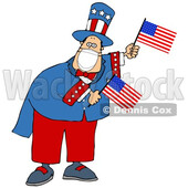 Cartoon Uncle Sam Wearing a Covid Mask and Waving American Flags © djart #1719917