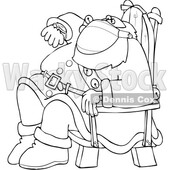 Cartoon Lineart Santa Wearing a Mask Sitting and Checking His Watch © djart #1721228