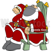 Cartoon Santa Wearing a Mask Sitting and Checking His Watch © djart #1721230