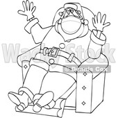 Cartoon Covid Christmas Santa Wearing Gloves and a Mask and Sitting © djart #1721360
