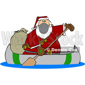 Cartoon Covid Christmas Santa in a Canoe © djart #1721365