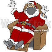 Cartoon Covid Christmas Santa Wearing Gloves and a Mask and Sitting © djart #1721366