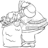 Cartoon Coronavirus Santa Packing His Sack © djart #1722023