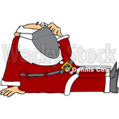 Cartoon Covid Santa Sitting and Wearing a Mask © djart #1722027