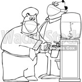 Cartoon Businessmen Wearing Masks at the Office Water Cooler © djart #1722507