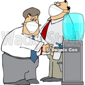 Cartoon Business Men Wearing Masks at the Office Water Cooler © djart #1722509
