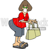 Cartoon Lady Wearing a Covid Mask While Shopping © djart #1722510