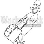Cartoon Lady Wearing a Mask and Pulling Heavy Luggage © djart #1722567