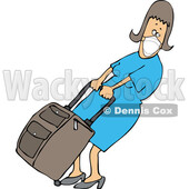 Cartoon Woman Wearing a Mask and Pulling Heavy Luggage © djart #1722572