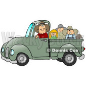 Friendly Caucasian Farmer Man Driving And Giving A Dog, A Boy, A Girl And A Man A Ride In His Truck Bed Clipart Illustration © djart #17227