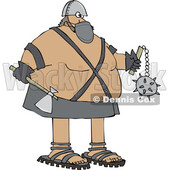 Cartoon Chubby Executioner Wearing a Mask and Holding an Axe and Flail © djart #1723072