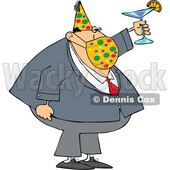 Businessman Wearing a Party Hat and Mask and Toasting © djart #1723073