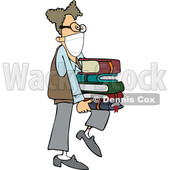 Geeky Man Wearing a Mask and Supporting a Stack of Books on His Knee © djart #1723074